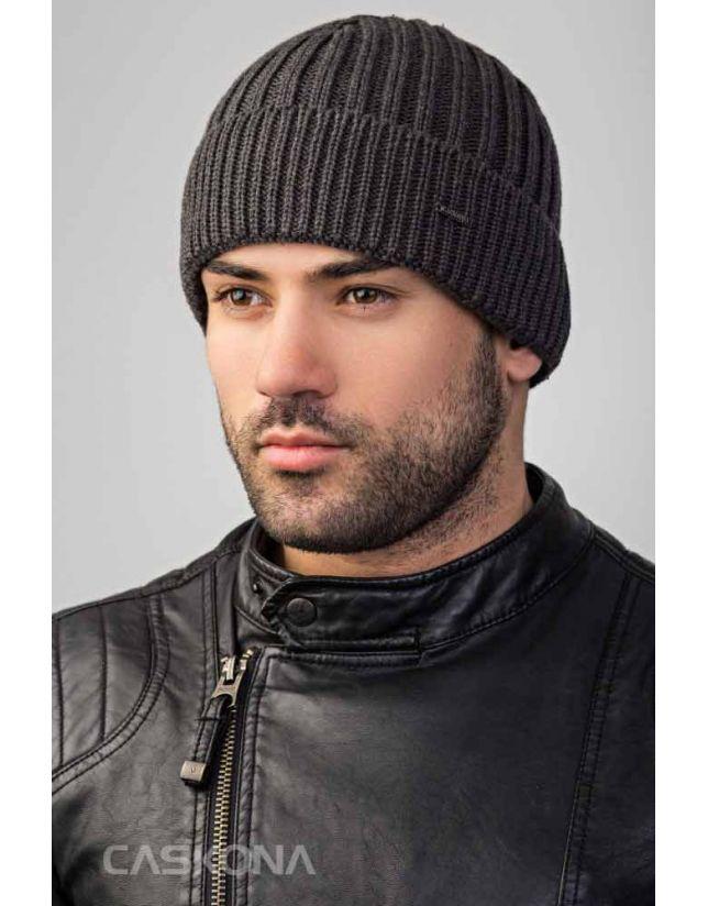 Модна темно-сіра шапка CASKONA ATLANTICA FLIP