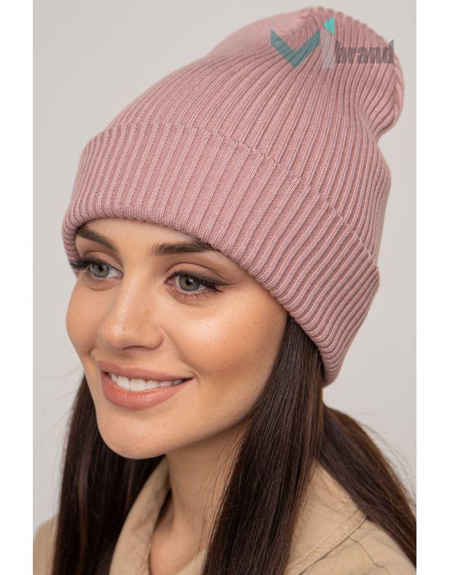 Женская шапка CASKONA EMMET F темная-пудра
