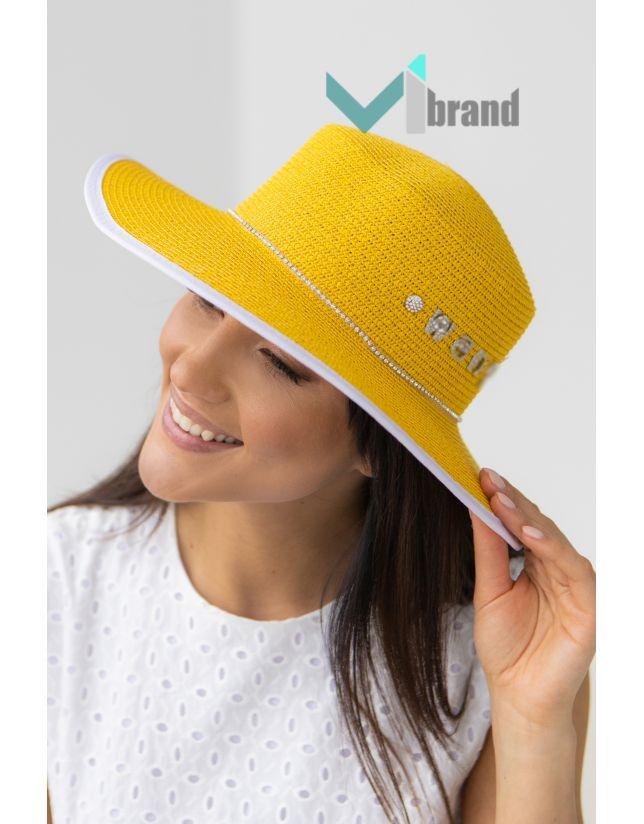 Плетений капелюх-ВАНГ жовтий