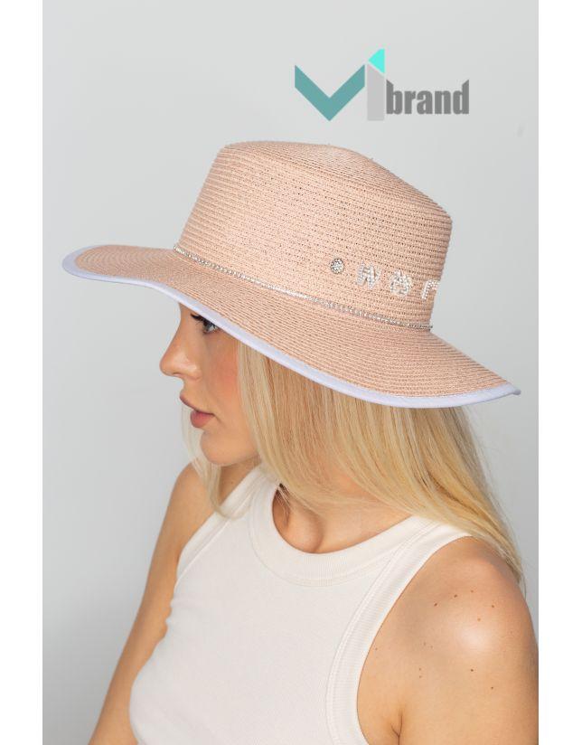 Плетений капелюх-ВАНГ пудра