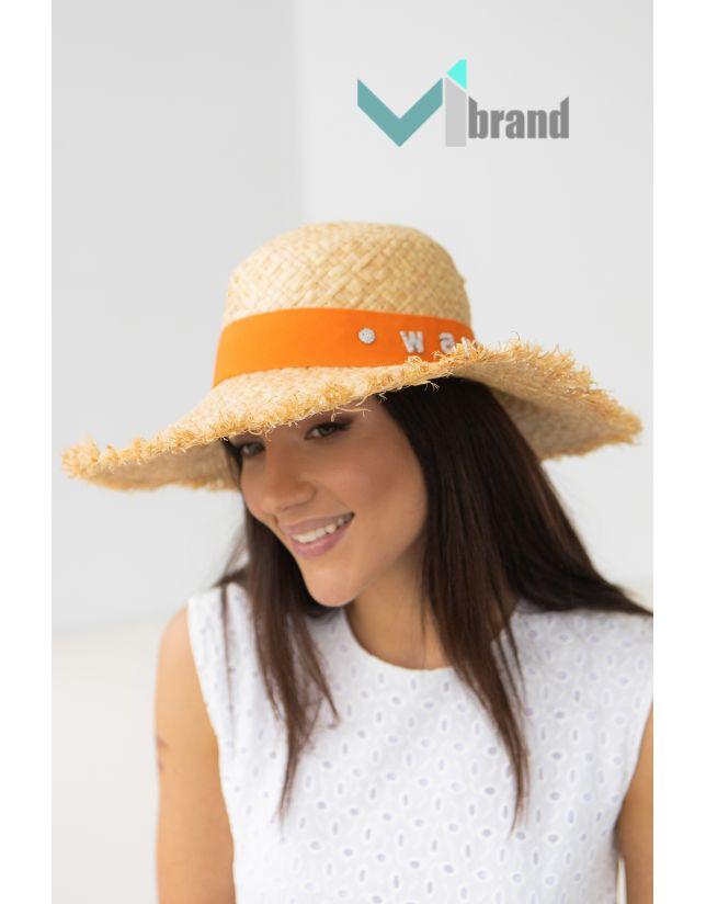 Солом'яний капелюх ВАНГ-бахрома оранж